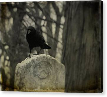 On The Tombstone By The Tree Canvas Print by Gothicrow Images