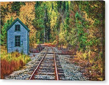 On The Tracks Painted Canvas Print by Black Brook Photography
