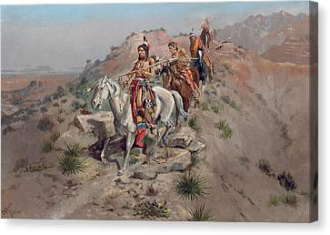 On The Warpath Canvas Print by Charles Marion Russell