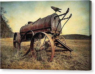 Canvas Print featuring the photograph On The Water Wagon - Agricultural Relic by Gary Heller