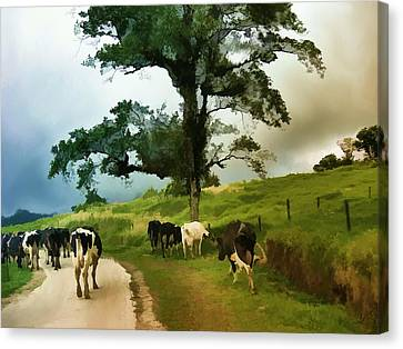 Canvas Print featuring the painting On The Way Home  by Elaine Manley