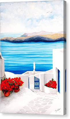On The Way To Santorini - Prints Of Original Oil Painting Canvas Print by Mary Grden Fine Art Oil Painter Baywood Gallery