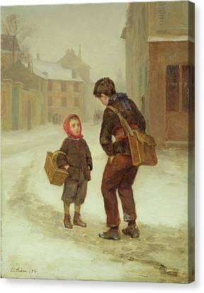 On The Way To School In The Snow Canvas Print
