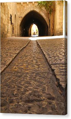 Canvas Print featuring the photograph On The Way To The Western Wall - The Kotel - Old City, Jerusalem, Israel by Yoel Koskas