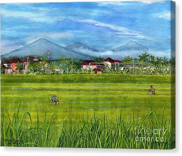 Canvas Print featuring the painting On The Way To Ubud 3 Bali Indonesia by Melly Terpening