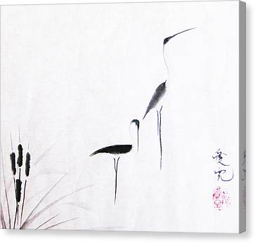 Crane Canvas Print - On Typha Pond by Oiyee At Oystudio