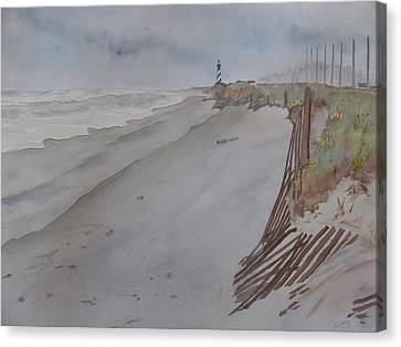 Canvas Print featuring the painting Once There Was A Lighthouse by Joel Deutsch