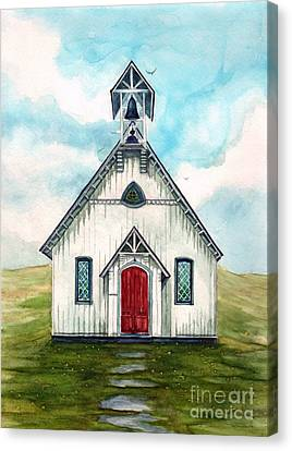 Once Upon A Sunday - Country Church Canvas Print by Janine Riley