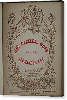 One Careless Word Sheet Music Cover Art  Canvas Print by Jake Hartz