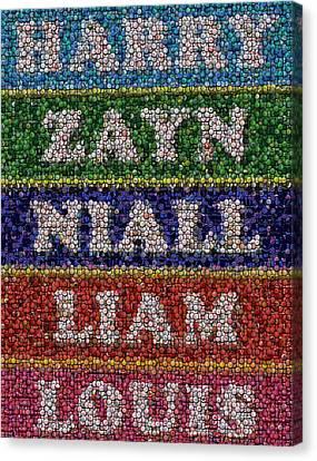 One Direction Names Bottle Cap Mosaic Canvas Print
