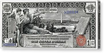 One Dollar Note - 1896 Educational Series  Canvas Print by Serge Averbukh