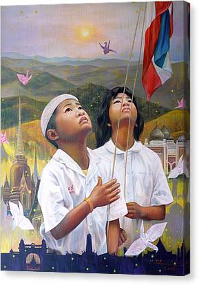 Canvas Print featuring the painting One Heart Of Thailand by Chonkhet Phanwichien