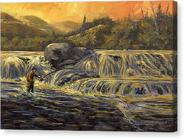 Canvas Print featuring the painting One Last Cast by Kurt Jacobson