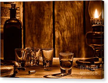 One Last Drink - Sepia Canvas Print
