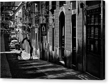 One Man And His Dog. Bairro Alto. Lisbon Canvas Print
