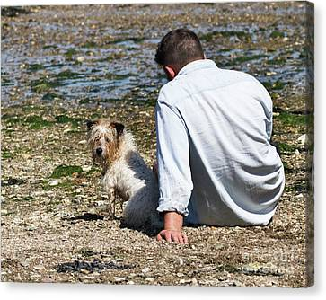 One Man And His Dog On The Beach Canvas Print by Terri Waters