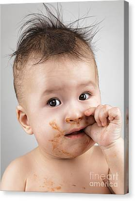 One Messy Baby Boy Sucking His Thumb Canvas Print by Oleksiy Maksymenko