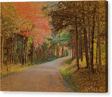 Canvas Print featuring the digital art One More Country Road by John Selmer Sr