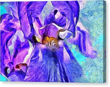 Digital Paint Flower Canvas Print - One Of A Kind by Krissy Katsimbras