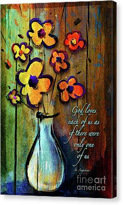 Canvas Print featuring the mixed media One Of A Kind by Shevon Johnson