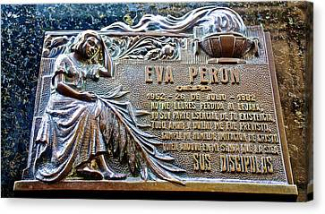 One Of Many Plaques Honoring Eva Peron In Le  Recoleta Cemetery In Buenos Aires-argentina Canvas Print by Ruth Hager