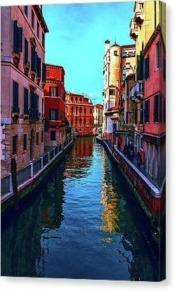 one of the many beautiful old Venetian canals on a Sunny summer day Canvas Print