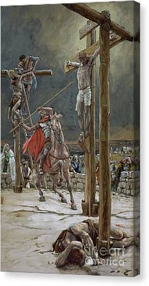 One Of The Soldiers With A Spear Pierced His Side Canvas Print by Tissot
