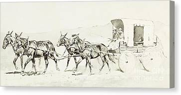 Remington Canvas Print - One Of Williamson's Stages by Frederic Remington