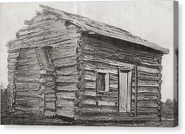 One Room, One Window, Dirt Floor Log Canvas Print by Vintage Design Pics