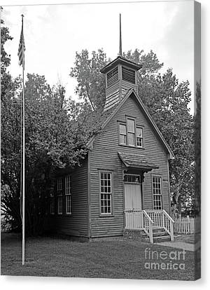 Billie Creek Canvas Print - One Room Schoolhouse Black And White by Steve Gass