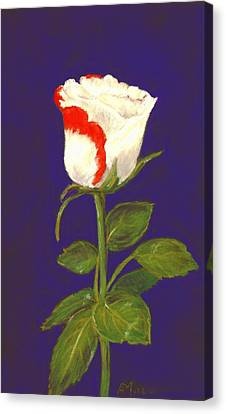 Canvas Print featuring the pastel One Rose by Anastasiya Malakhova