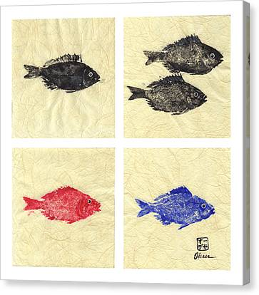 Gyotaku Canvas Print - One Two Red Blue by Odessa Kelley