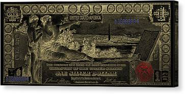 Canvas Print featuring the digital art One U.s. Dollar Bill - 1896 Educational Series In Gold On Black  by Serge Averbukh