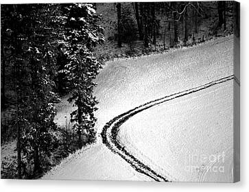 One Way - Winter In Switzerland Canvas Print