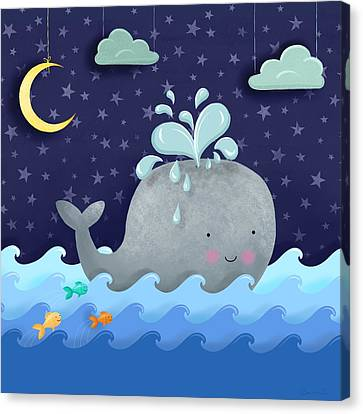 One Wonderful Whale With Fabulous Fishy Friends Canvas Print by Little Bunny Sunshine