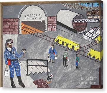 Canvas Print featuring the painting Onieda Coal Mine by Jeffrey Koss