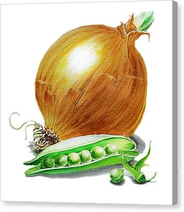 Onion Canvas Print - Onion And Peas by Irina Sztukowski