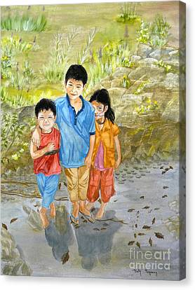 Canvas Print featuring the painting Onion Farm Children Bali Indonesia by Melly Terpening