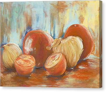 Onions And Tomatoes Canvas Print by AnnaJo Vahle
