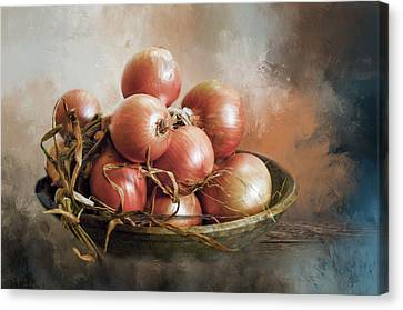 Canvas Print featuring the photograph Onions by Robin-Lee Vieira
