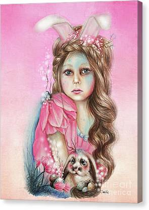 Canvas Print featuring the mixed media Only Friend In The World - Bunny by Sheena Pike