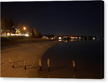 Canvas Print featuring the photograph Onset Beach At Night by Greg DeBeck