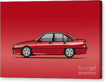 Opel Omega A, Vauxhall Carlton 3000 Gsi 24v Red Canvas Print by Monkey Crisis On Mars