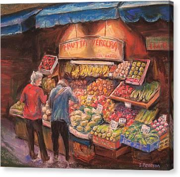 Open Air Market  Bologna Canvas Print by Sam Pearson