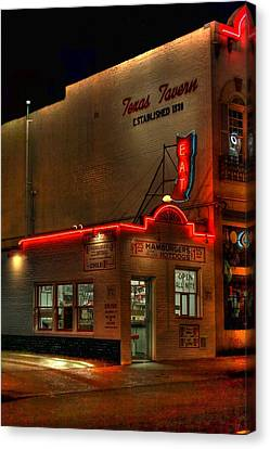 Open All Nite-texas Tavern Canvas Print by Dan Stone