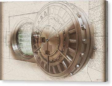 Open Bank Vault Door And Lock - Seoul Canvas Print by Serge Averbukh
