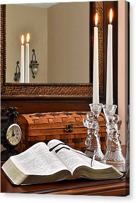 Open Bible With Candles - 1 Canvas Print by James Fowler