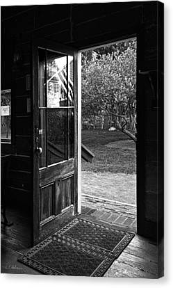 Open Door B-w Canvas Print by Christopher Holmes