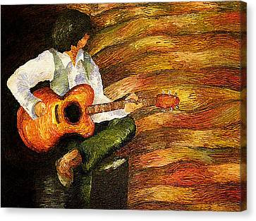 Canvas Print featuring the painting Open Mic Night by Meagan  Visser