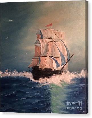 Canvas Print featuring the painting Open Seas by Denise Tomasura